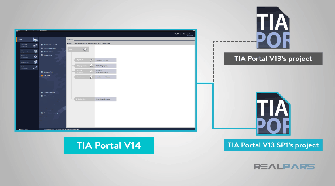 How to Open up TIA Portal V13 Projects in TIA Portal V14? | RealPars