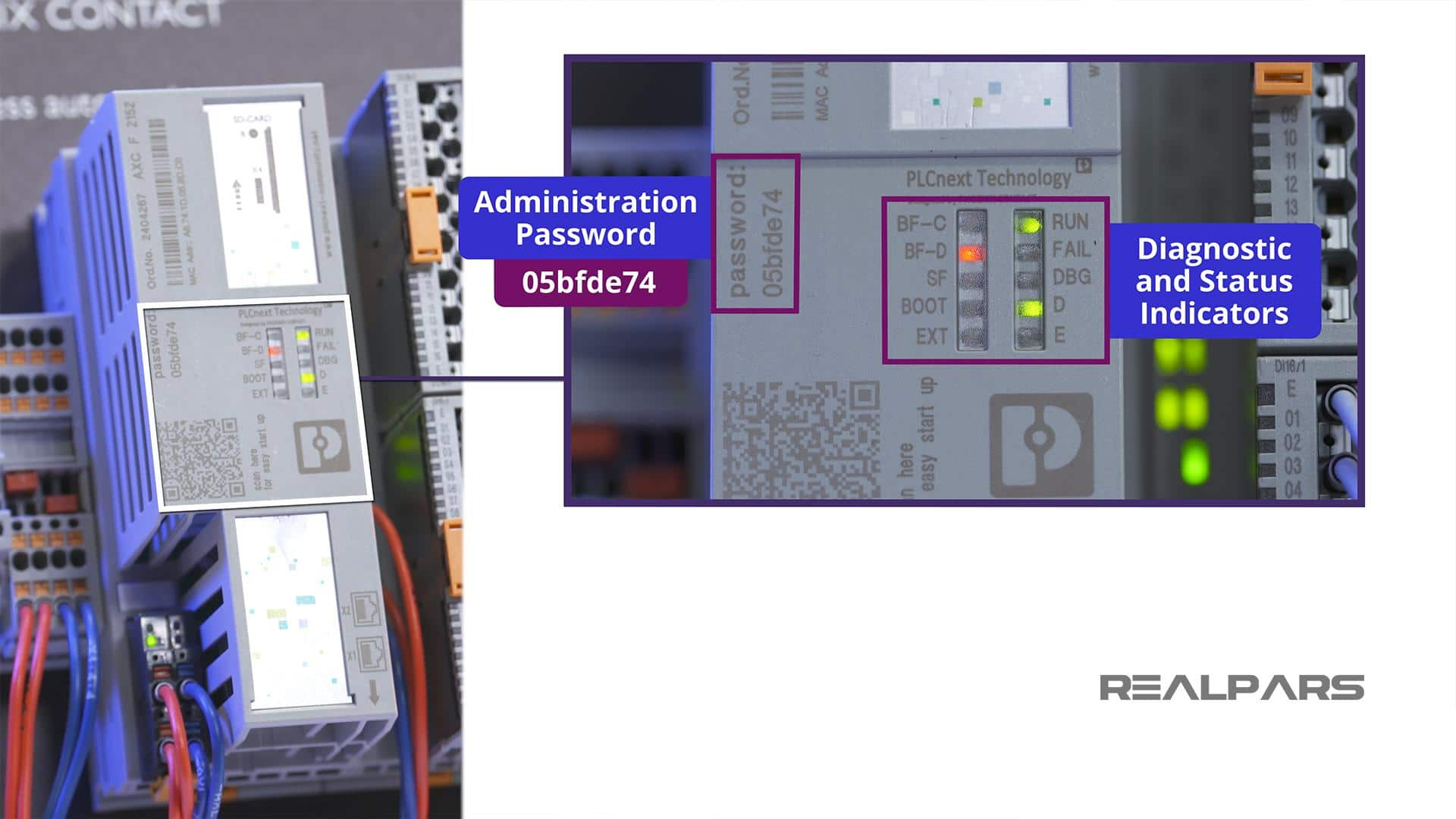 Administration Password and Status LED indicators