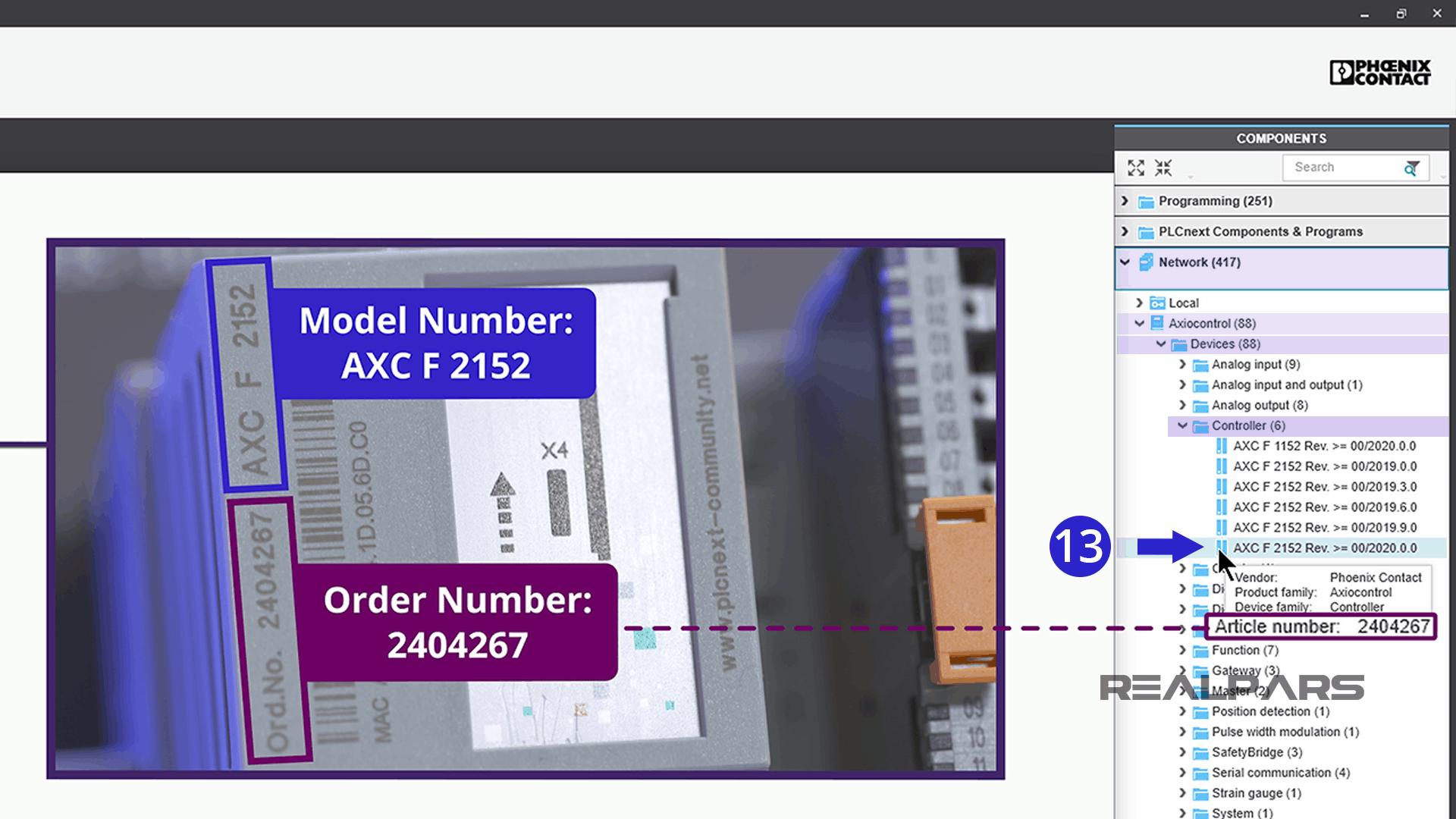 Select PLCnext Controller.