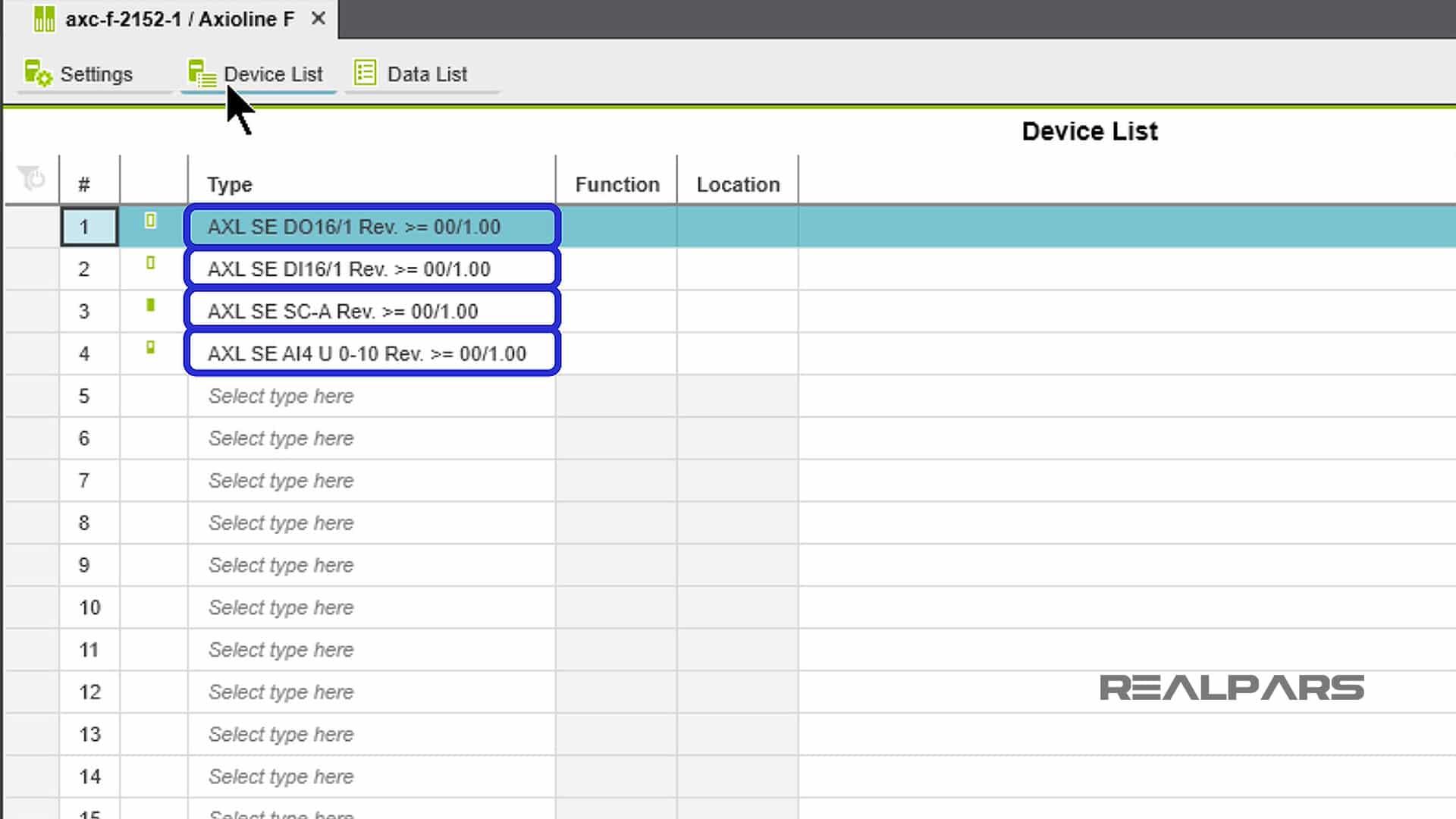 PLCnext Engineer Device List
