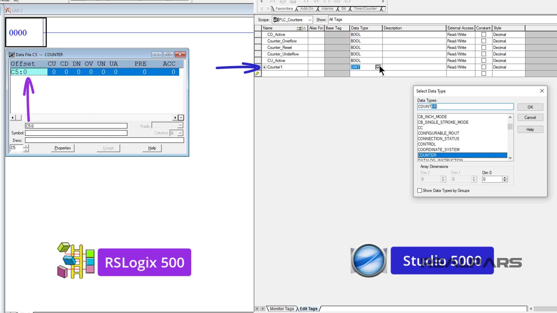 PLC counter file name